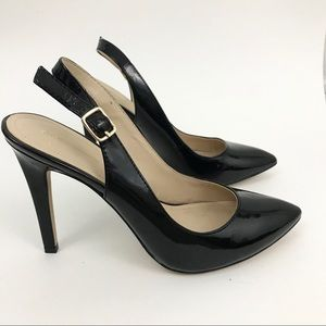 BCBG Generation Black Leather Heels pumps size 8.5